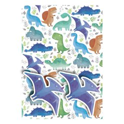 Dinosaur Wrapping Paper - 2 Sheets 2 Tags