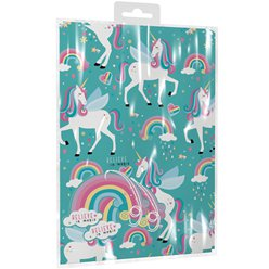 Unicorn 2 Sheets of Wrapping Paper & Tags