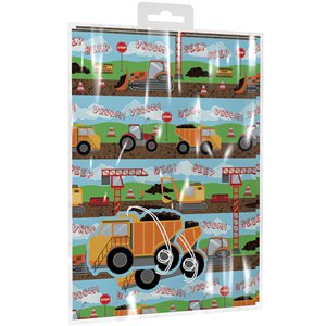 Diggers 2 Sheets of Wrapping Paper & Tags