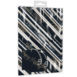 Navy Stripes 2 Sheets of Wrapping Paper & Tags