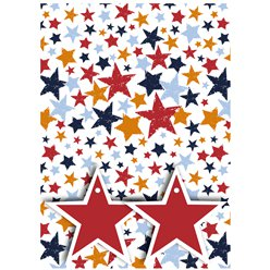 Coloured Stars 2 Sheets of Wrapping Paper & Tags