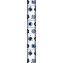Silver & Blue Star Wrapping Paper Roll - 2m