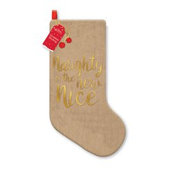Naughty is the New Nice Hessian Christmas Stocking - 48cm
