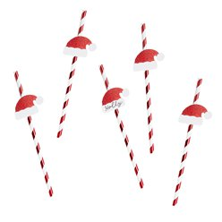 Santa Hat Red & White Stripe Paper Straws - 19cm