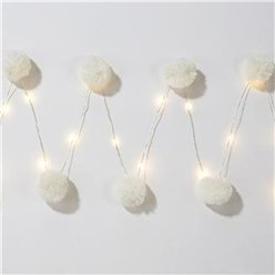 White LED Pom Pom Lights - 2m
