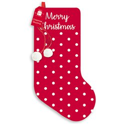 Merry Christmas Spotted Christmas Stocking - 48cm