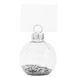 Silver Glitter Bauble Place Card Holders