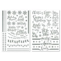 Silver Festive Party Glass Stickers
