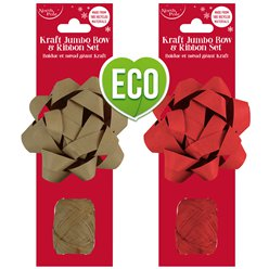 Kraft Bow and Raffia Cop - 2 Assorted Designs
