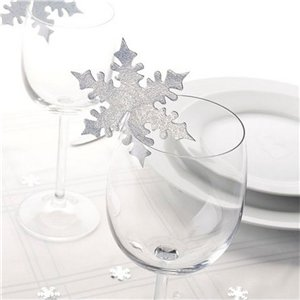 Silver Snowflake Place Cards for Glasses - 8cm