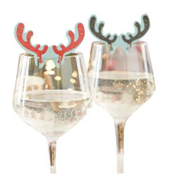 Christmas Antler Glass Decorations