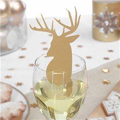 Gold Stag Glass Decorations