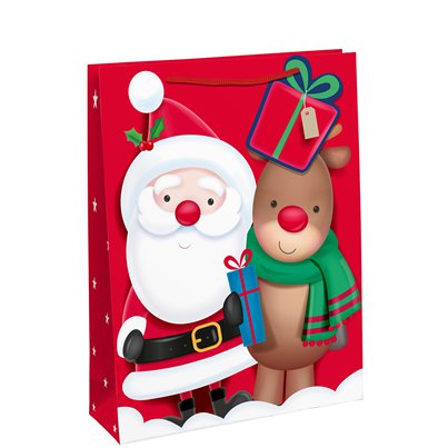 Santa and Rudolph Gift Bag- Medium