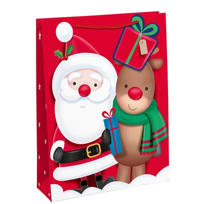 Santa and Rudolf Gift Bag - Large