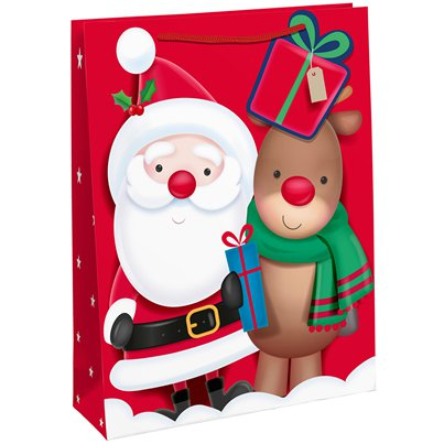 Santa and Rudolf Gift Bag - Extra Large