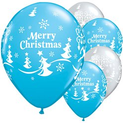 "Merry Christmas & Reindeer Balloons - 11"" Latex"