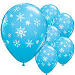 "Snowflakes & Sparkles-A-Round Robin's Egg Blue Balloons - 11"" Latex"