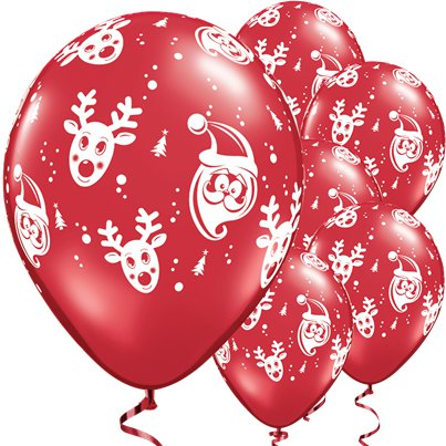 "Santa & Rudolf Ruby Red Pack - 11"" Latex Balloons"