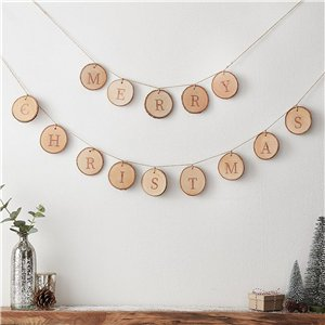 Merry Christmas Wood Sliced Bunting