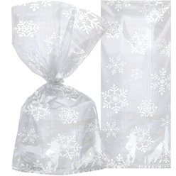 Snowflake Christmas Cello Bags - 30cm