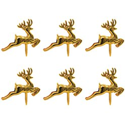 Reindeer Plastic Cake Topper Picks Gold