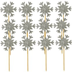 Glitter Snowflake Cupcake Toppers Silver