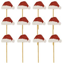 Glitter Santa Hat Cupcake Toppers