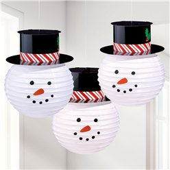 Round Snowmen Paper Lanterns With Hats - 24cm