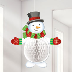 Snowman Honeycomb Hanging Decoration - 50cm