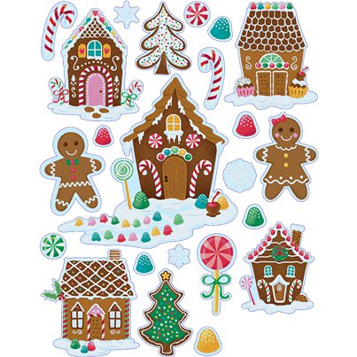 Gingerbread House Vinyl Window Decorations