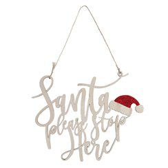 Santa Please Stop Here Wooden Sign - 25cm
