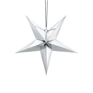 Silver Paper Star Decoration - 30cm