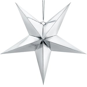 Silver Paper Star Decoration - 70cm