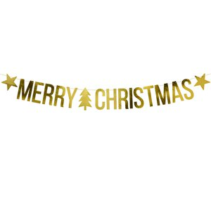 Gold Merry Christmas Banner - 1.5m