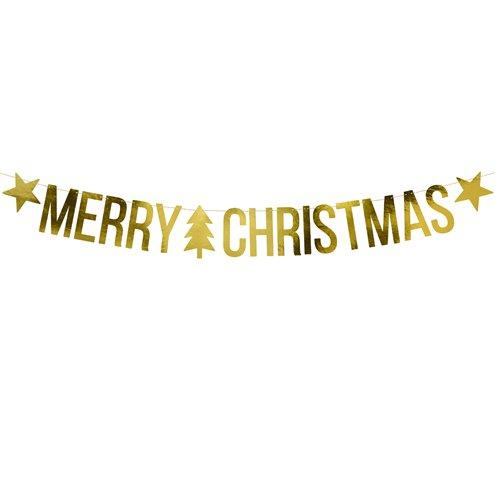 Christmas Banner.Gold Merry Christmas Banner 1 5m