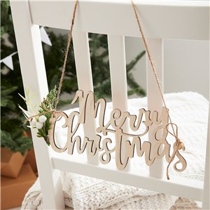 Wooden Merry Christmas Chair Signs - 27cm