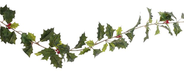 Green Holly & Berries Garland - 1.8m