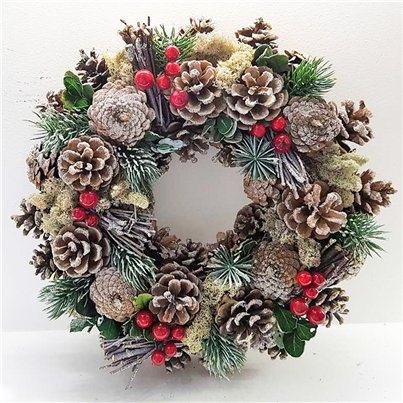 Frosty Woodland Door Wreath - 30cm