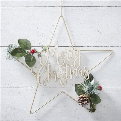 Gold Metal Merry Christmas Star Wreath - 36cm