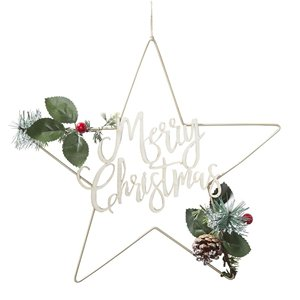 Gold Metal Merry Christmas Star Wreath - 32cm