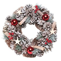 Woodland Snow Wreath With Red Baubles