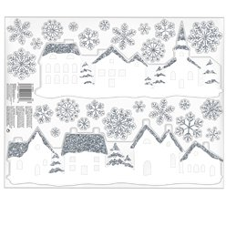 White Village Glitter Window Cling