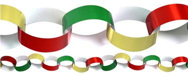 Red, Green & Gold Paper Chains - 20cm