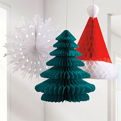 Festive Honeycomb Decorations - 30cm