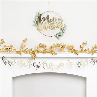 Gold Christmas Fireplace Decorating Kit