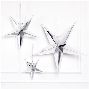 Silver Paper Stars Decoration Kit