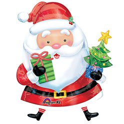 "Santa & Tree Christmas Supershape Balloon - 37"" Foil"