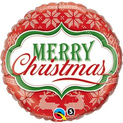 "Merry Christmas Nordic Pattern - 18"" Foil"