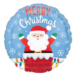"Santa in Chimney Balloon - 18"" Foil"