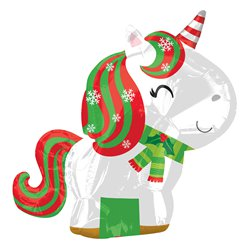 "Christmas Unicorn Balloon - 18"" Foil"